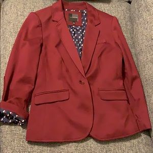Maroon Cotton Blazer - The Limited